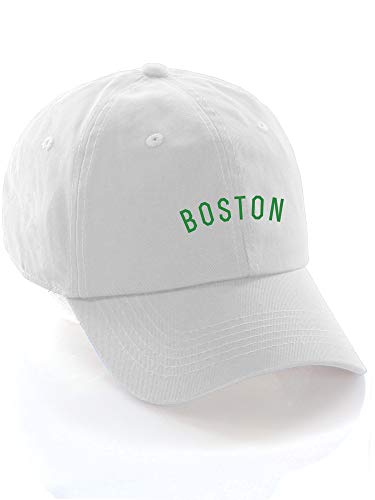 Terrier White Hat - Daxton USA Cities Baseball Dad Hat Cap Cotton Unstructure Low Profile Strapback - Boston White Green