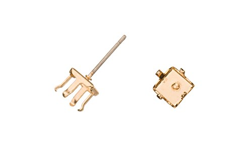 - 4-Prong Diamond Snap-On Ear Stud 14K Gold Finished Brass Fits 6mm Cabochons And Crystal With Surgical Stainless Steel Pin 6X6mm sold per 10pcs