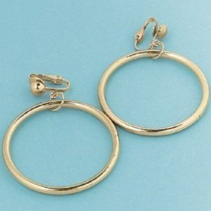 Gold Hoop Clip On Earrings (1 dz)