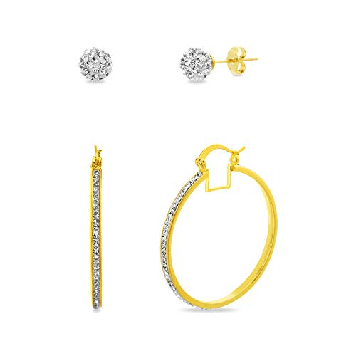 Devin Rose 40mm Hoop and Ball Stud Earrings for Women Made With Swarovski Crystal in Yellow Gold Plated Brass (Yellow Set)