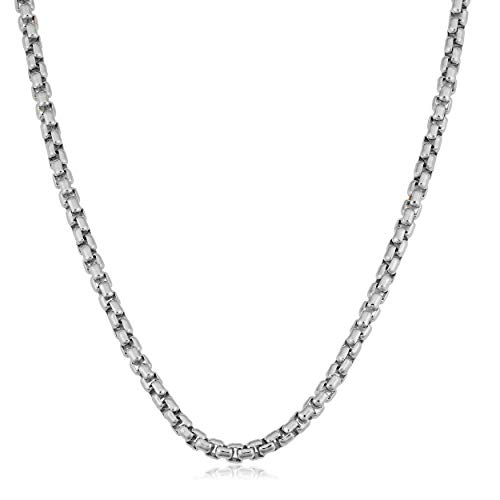 Verona Jewelers Sterling Silver 3.5MM Classic Round Box Link Rhodium Necklace Chain- Box Link Chain for Men 18-30 (24)