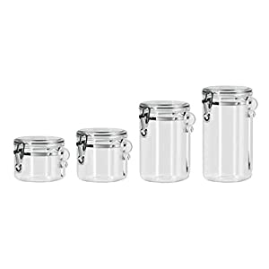 Oggi 4pc Clear Canister Set with Clamp Lids & Spoons Airtight Containers in Sizes Ideal for Kitchen Pantry Storage of…