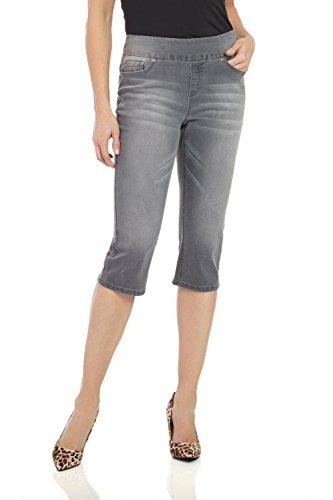 (Rekucci Womens Ease in to Comfort Fit Stretch Jean Capri (10,Charcoal Whiskers))