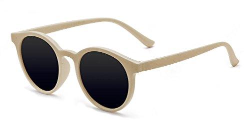 Kelens Classic Small Round Retro Sunglasses For Women and Men Beige