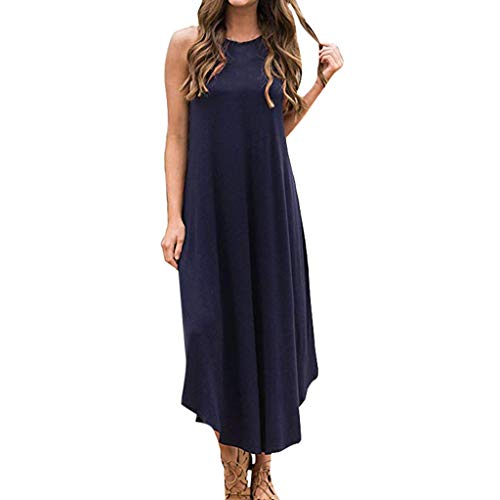 (CCOOfhhc Womens Summer Dress Casual Loose Beach Cover Up Long Plain Print Swing Cami Maxi Dresses Blue)