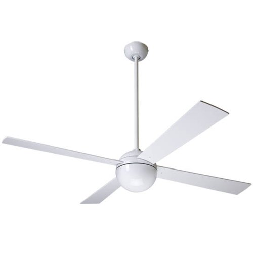 """Modern Fan BAL-GW, Ball Gloss White Energy Star 52"""" Outdoor Ceiling Fan with BL52WH Blades"""