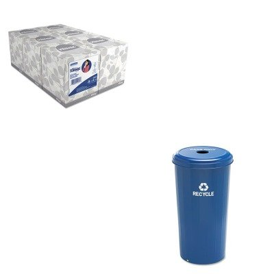 KITKIM21271SAF9632BU - Value Kit - Safco Tall Recycling Receptacle for Cans (SAF9632BU) and KIMBERLY CLARK KLEENEX White Facial Tissue (KIM21271)