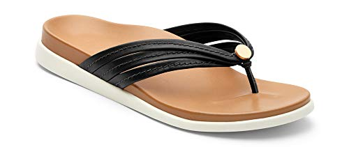 Vionic Women's Palm Catalina Toe-Post Sandal - Ladies Flip-Flop Concealed Orthotic Support Black 8 M US -