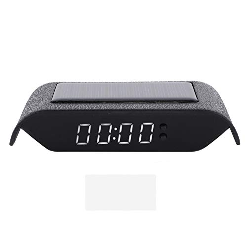 Car Digital Clock, Stick‑on Digital Watch Portable Auto Truck Solar Powered Time Date Temperature LCD Display Wiring Free(White Light)