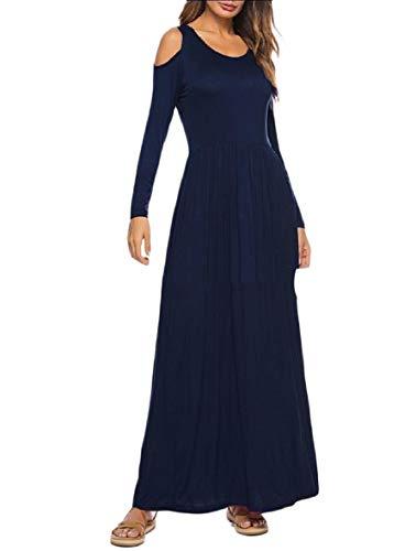 Coolred Spalla Autunno Vestito Oscillazione donne Lungo manicotto Navy Di Blu Modale Maxi Fredda Edpwwq
