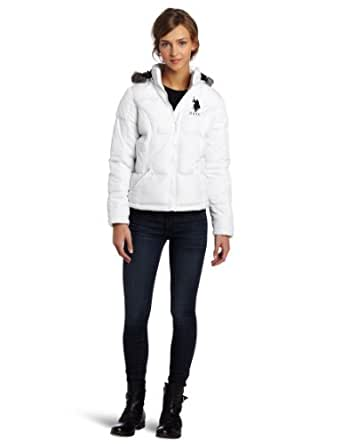 US Polo Assn. Junior's Hooded Jacket With Faux Fur Trim, Optic White/Black, Small