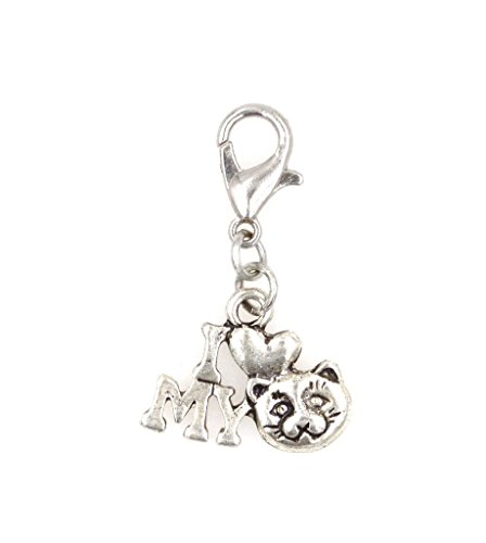 I Love My Cat Clip On Charm Perfect for Necklaces and Bracelets (ZC 97V) - I Love My Cat Charm