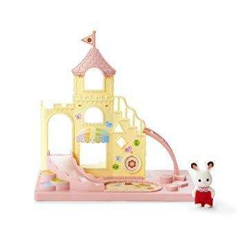 Calico Critters Baby Castle Playground Playset with Baby Carry Case Bunny with Rocking Horse and Lamb on Train Bundle ()