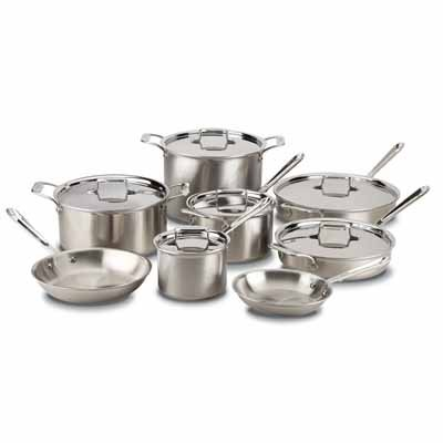 All-Clad BD005705 D5 Stainless Steel 5-Ply Bonded Dishwasher Safe Cookware Set, 5-Piece, Silver