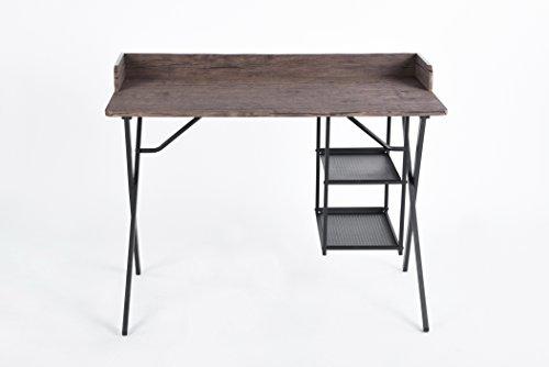 Metal Vintage Desk (Vintage Dark Brown / Black Metal X-Design Frame Computer Laptop Writing Study Desk Modern Home Office with Bottom Shelves)