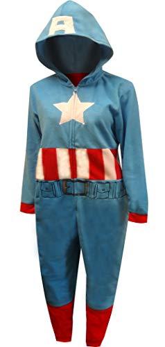 Captain America Onesie For Adults (Captain America Marvel Women's Cozy Union Suit Pajamas Sleepwear (Large / 12-14))