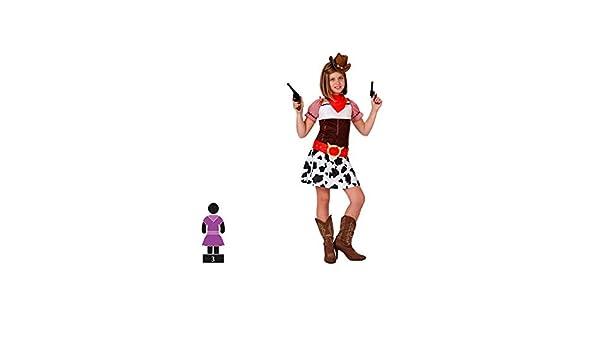 Cisne 2013, S.L. Disfraz de 3 Piezas para Carnaval Infantil niña de Vaquera Color Rojo y Blanco Talla 5-6 años de niño y niña. Cosplay niña Carnaval.: Amazon.es: Hogar