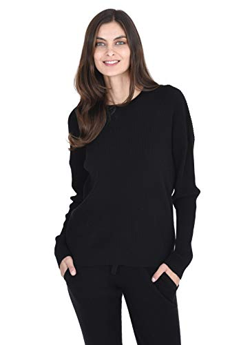 State Cashmere Women's 100% Cashmere Long Sleeve Crew Neck Pullover Loungewear Sweater Black
