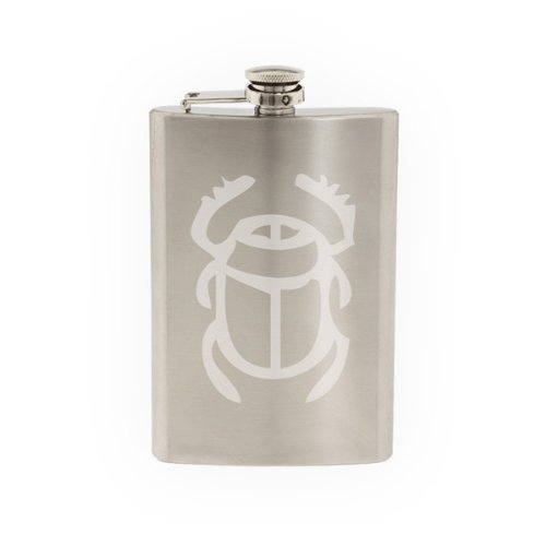 Egyptian Symbols #1- Scarab Beetle Hieroglyph Art- Etched 8 Oz Stainless Steel Flask ()