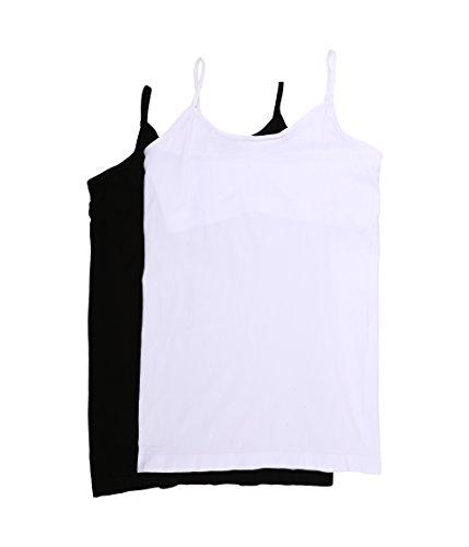 Coobie Women's Cami with Shelf Bra 2-Pack, Black/White, One Size