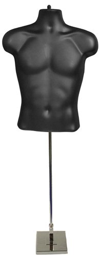 Male Torso Form, Black with Tall Adjustable Mannequin Stand, Square Base by Plastic Mannequins