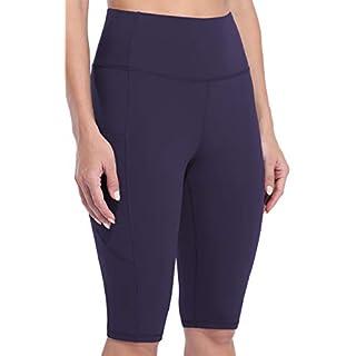 """Sociala Womens High Waist Biker Shorts with Pockets 12"""" Workout Running Short Dark Purple"""