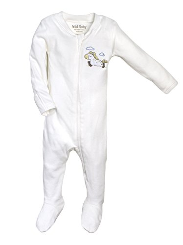 WILD BABY Organic Cotton Zippered Baby Footie with Gift Box (3-6 Months, Horse)