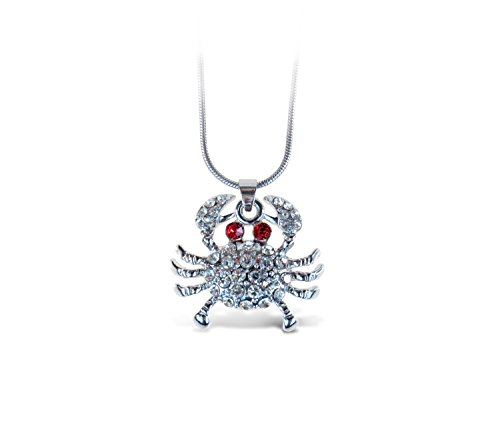 Puzzled Red & Silver Crab Necklace, 18 Inch Fashionable & Elegant Silver Chain Jewelry with Rhinestone Studded Pendant For Casual Formal Attire Sea Life Themed Girls Teens Women Fashion Neck Accessory