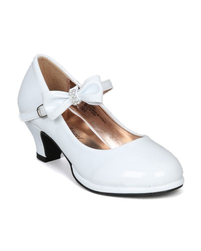 Little Angel Girls Tasha-685E Patent Bow Mary Jane Pump - White,White,3 - Bow Heels Shoes