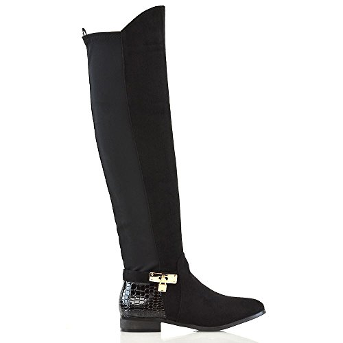 Flat Heel Black Casual Low The Womens GLAM High Boots Leg Suede ESSEX Over Croc Zip Stretch Knee Ladies Faux Calf 8Ygwqpa
