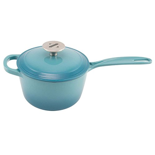Zelancio Enameled 2-Quart Cast Iron Sauce Pan, Pot with Lid. Perfect as a Bean Pot, Spaghetti Sauce Pot, Barbecue Sauce Pot, or Pasta Sauce Pot, Teal