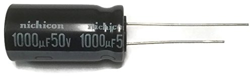 Set of 10, Nichicon 105°C Electrolytic Capacitor 1000uF 50V (1000 mfd 50V) 20% Radial, 1/2