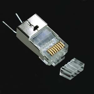 Installerparts RJ45 Cat.6 Shielded Plug Solid 50Micron 1.5mm dia 3 Prong w/Inserter 100pk