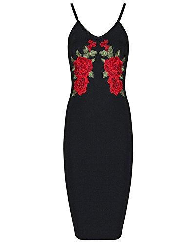 Whoinshop Damen Blumen Stickerei Bodycon Kleid Elegante Spaghetti ...