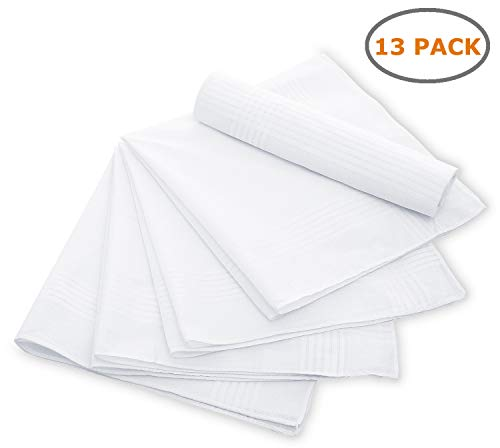 (Cotton Handkerchiefs, Ohuhu 13 Pack 100% Pure Cotton White Pocket Square Hankies/Pocket Handkerchief For Men Women)