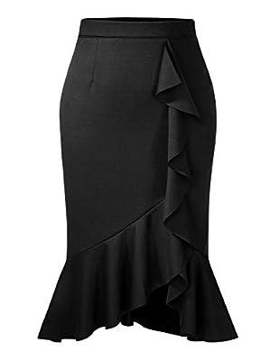 ANGGREK Womens Midi Ruffle Bodycon Pencil Skirt High Waist