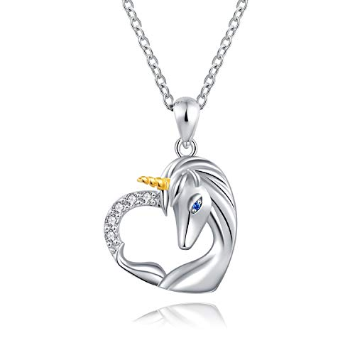 ACJNA 925 Sterling Silver Unicorn Pendant Necklace Jewelry for Girl Women (Unicorn in Heart) -