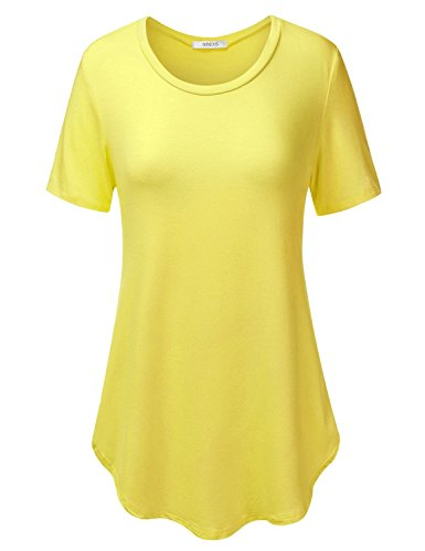 Yellow Tunic Shirt (NINEXIS Women's Short Sleeve Shirttail & Asymmetrical Hem Top YELLOW)