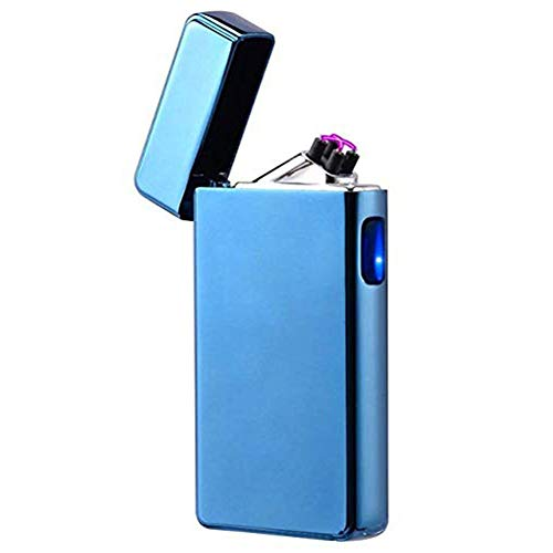 USB Lighters Flameless Plasma Arc Lighter Flameless USB Cigarette Lighter Windproof Electric Lighters Rechargeable Dual Pulse Arc Plasma Lighter (Blue)
