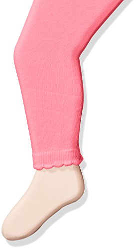 Jefferies Socks Girls' Baby Cotton Footless Tights with Scalloped Edge, Bubble Gum Pink, 6-18 Months