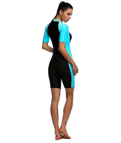 4ecd5e8f574f Swimsuit for Woman Belloo One Piece Short-sleeve Surfing Suit Sun Protection,  Lightblue,