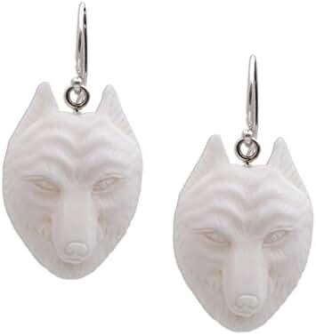 NOVICA .925 Sterling Silver Handcrafted Bone Dangle Earrings, 'Wolf Pack'