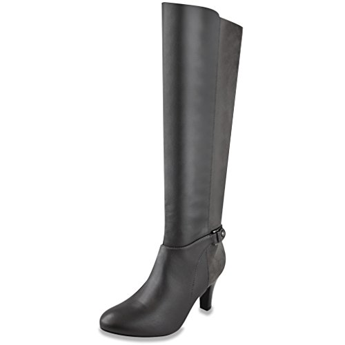LONDON FOG Womens Event Heal Dress Boot Grey 6 (Leather Boots Dress Womens)