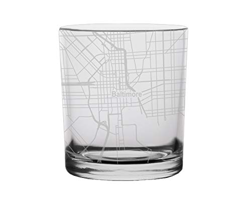 Baltimore Glass - Baltimore City Map Whiskey Glass Maryland