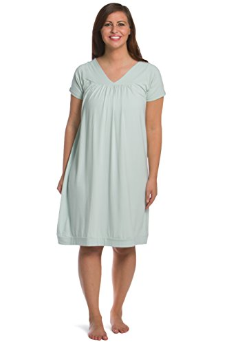 Fishers Finery Women's Tranquil Dreams Short Sleeve Nightgown  Comfort Fit, Sea Glass, X-Large - Moisture Wicking Nightgown