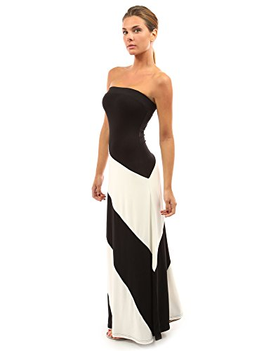 Bottom Tube Dress (PattyBoutik Women's Striped Tube Maxi Dress (Black and Ivory White M))