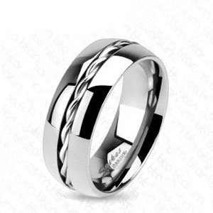 Crazy2shop Solid Titanium Wedding Band With Center Line Rope Twist