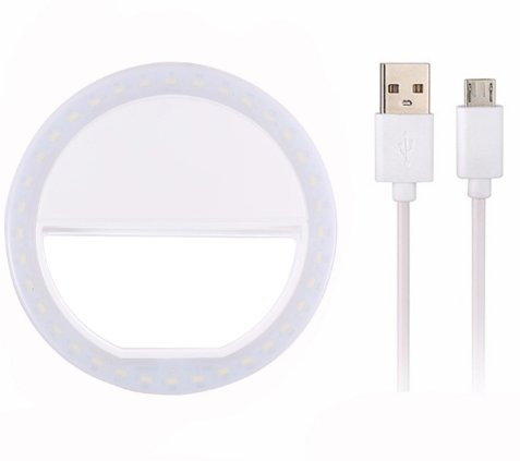 EZ Tech Easy Smart Simple Selfie Ring Light 36 LED Photo Light Universal Iphone Android Samsung LG Tablet (White)