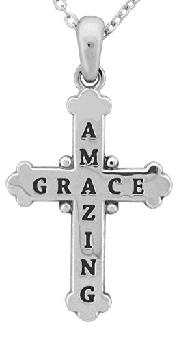 Engraved Amazing Grace Christian Cross Pendant on 18 inch Chain (Grace Pendant Necklace)