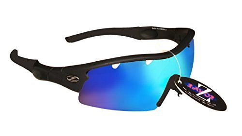 RayZor Liteweight UV400 Black Sports Wrap Golf Sunglasses,1 Pce Vented Blue - Golf Bloc Sunglasses